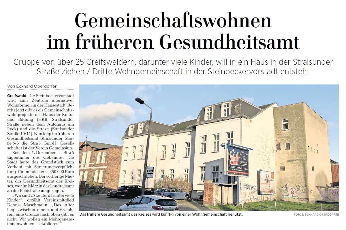 OZ berichtet über Wohnprojekt in Stralsunder Straße 5/6
