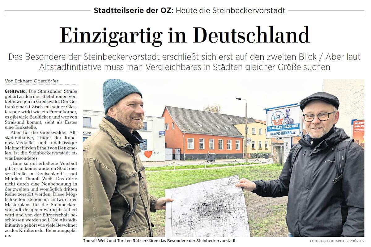 Stadtteilserie der OZ: Eine ganze Seite über die Steinbeckervorstadt