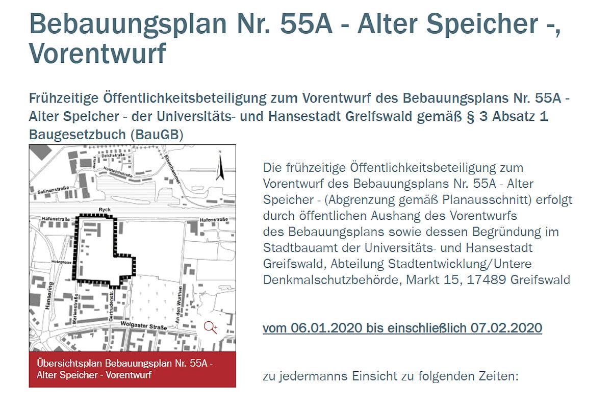 """Stellungnahmen zum """"Bebauungsplan Nr. 55A – Alter Speicher"""" abgeben"""