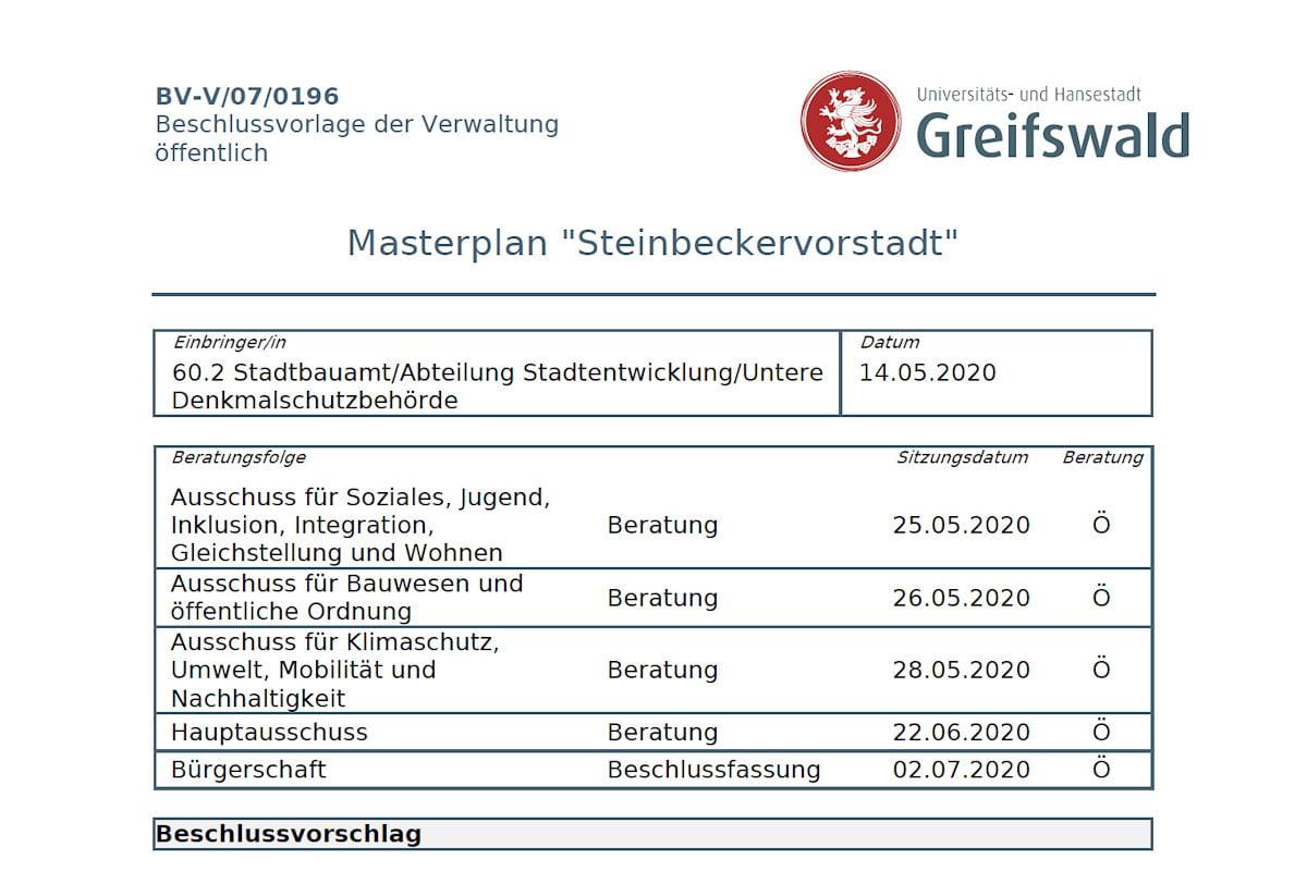 """Masterplan """"Steinbeckervorstadt"""" vor Beschlussfassung"""