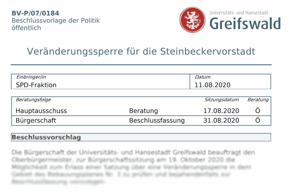 SPD-Fraktion: Kleine Anfrage und BV für Veränderungssperre