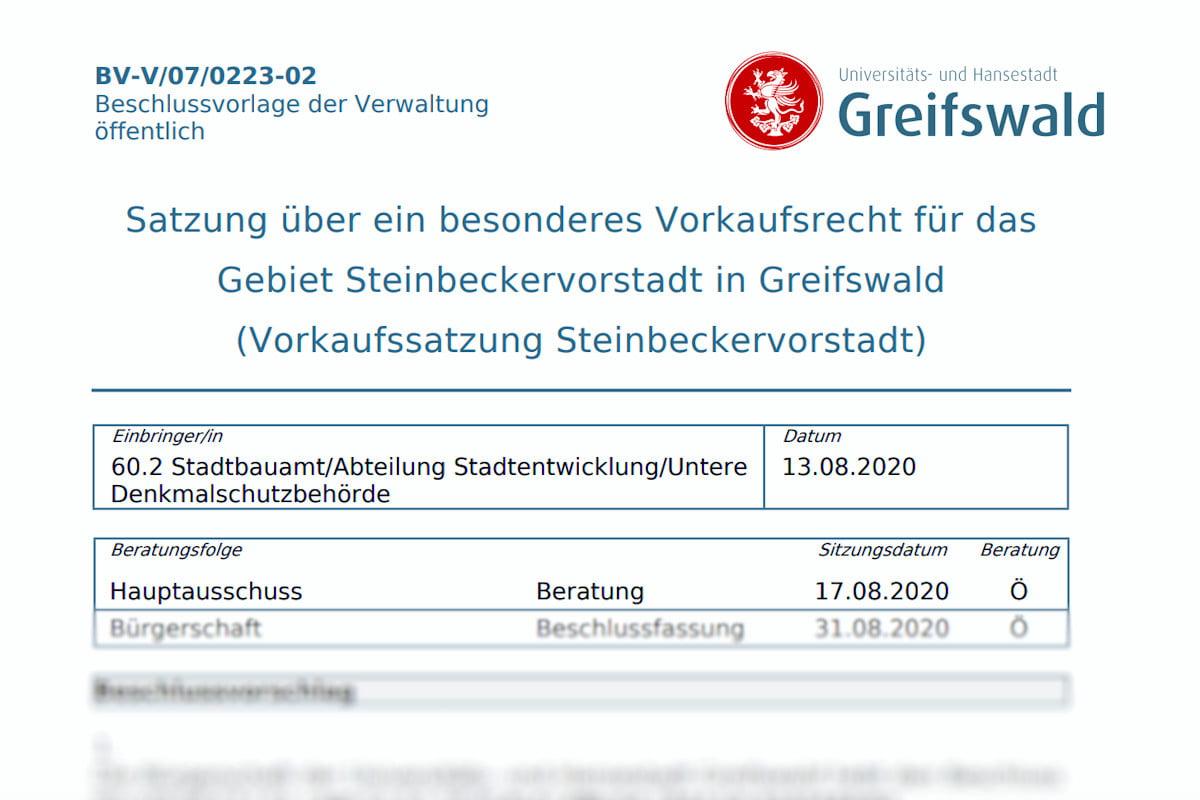 Vorkaufssatzung Steinbeckervorstadt am 31.08.2020 beschlossen