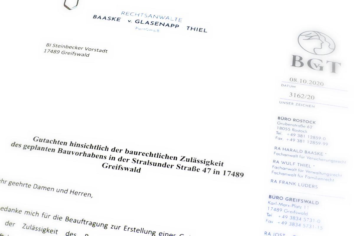 Rechtsgutachten stellt fest: Bauvorhaben Stralsunder Straße 47 ist unzulässig