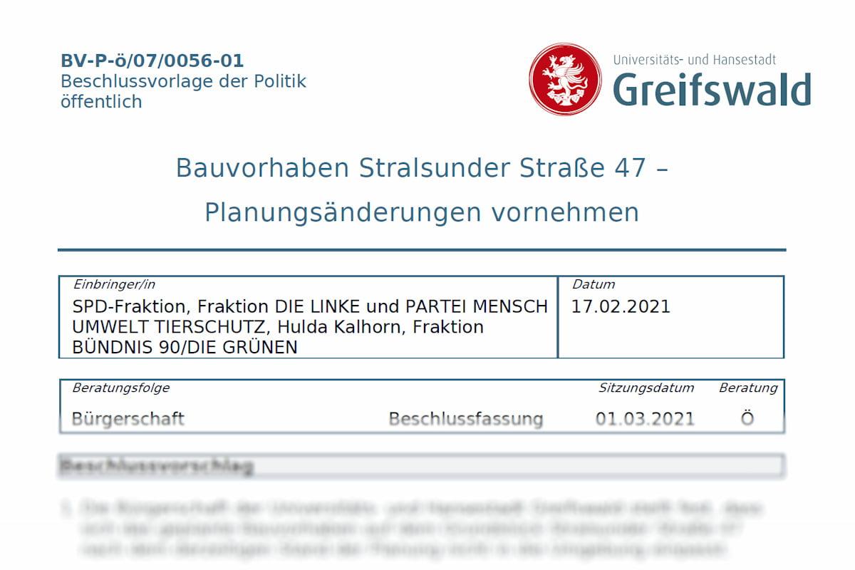 Bauvorhaben Stralsunder Straße 47 erneut auf Tagesordnung der Bürgerschaft